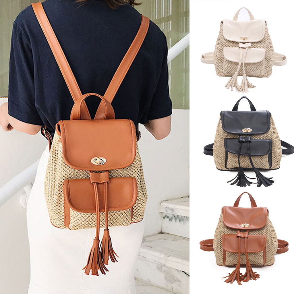 small backpacks for girls New Women's Fashion Backpack Wild Solid Weaving  Tassel Backpack With Shoulders rucksack women#G69 Backpacks  - AliExpress