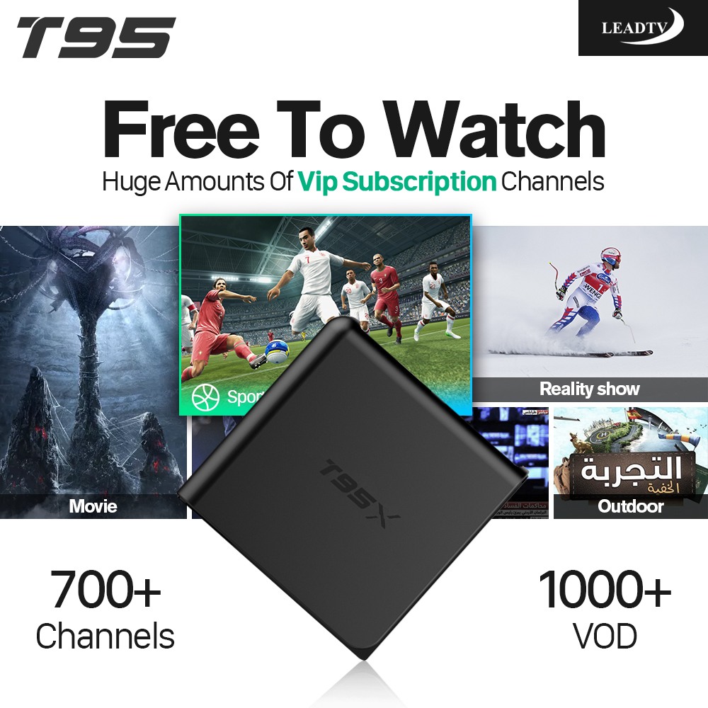 Arabic IPTV Subscription T95X Android 6.0 TV Box French Germany Sport Channels Fast S905X Strong WIFI HDMI IPTV Media Box 80 channels hdmi to dvb t modulator hdmi extender over coaxial