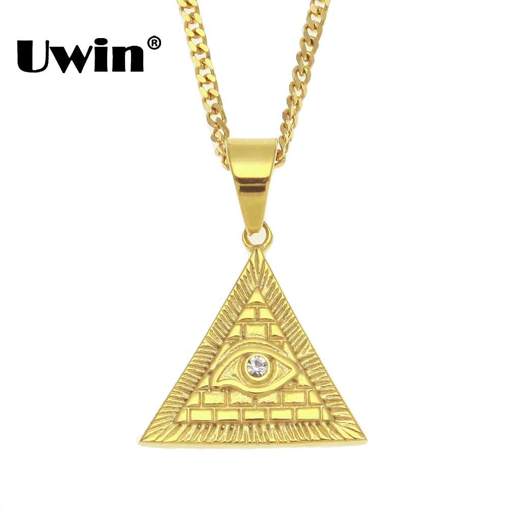 Uwin Mode Hiphop Illuminati Pyramide Oeil De Horus Pendentif Colliers En Acier Inoxydable Vintage Egypte Or Couleur Mens Chaîne Cubaine