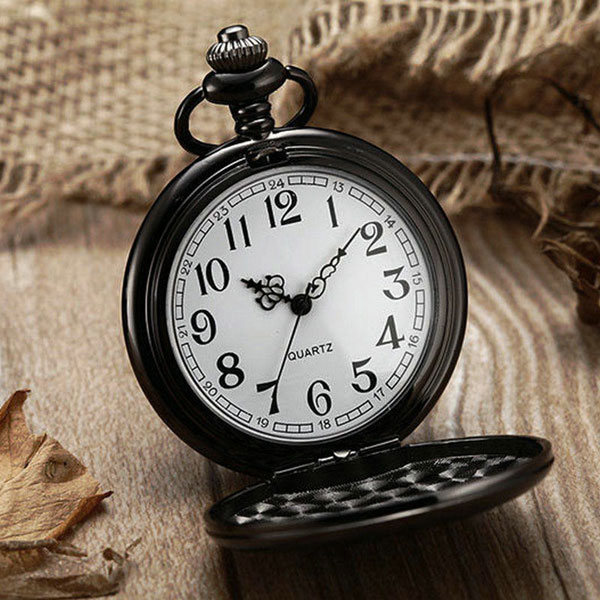 Fashion Classic Smooth Vintage Black Steel Women Mens Arabic Numbers Fob Pocket Watch With Short Chain Best Gift To Men Women