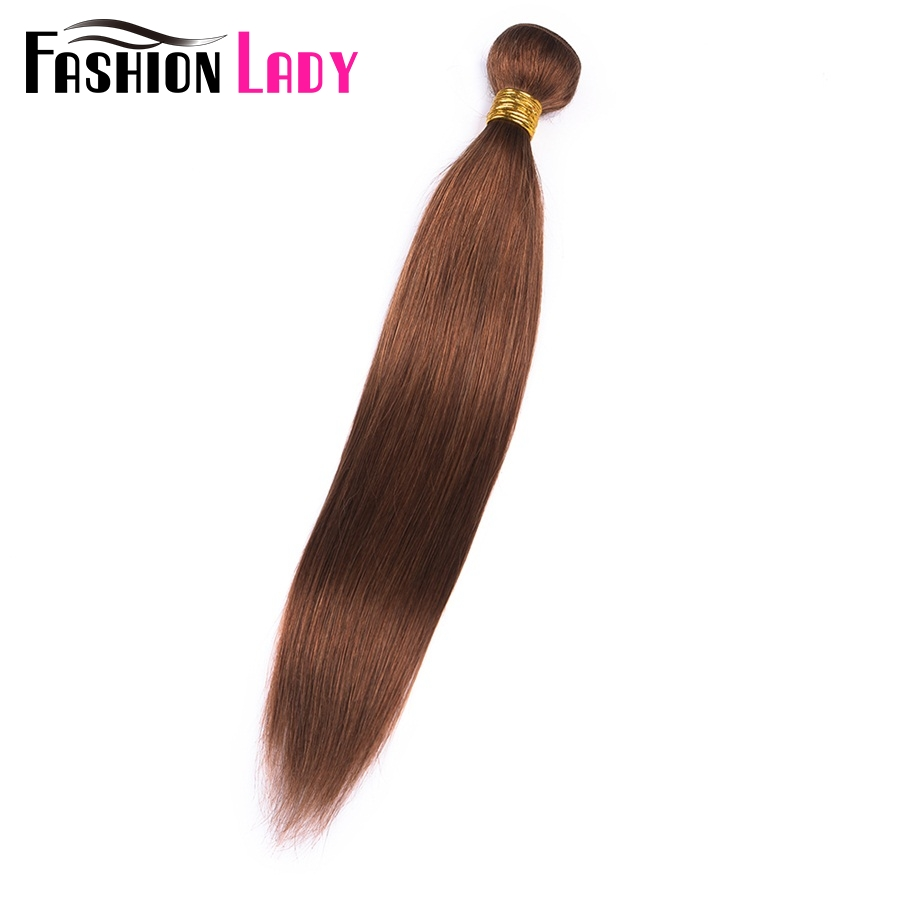 FASHION LADY Pre-Colored 100% Human Hair Weave #30 Brown One Piece Peruvian Straight Hair Human Hair Weft Non-Remy