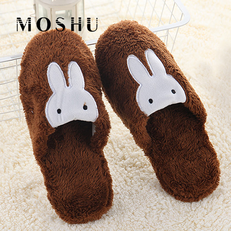 Women Cotton Home Slippers Men Non Slip Cute Rabbit Prints Indoor Floor Soft Slippers Winter Couple Plush Warm Funny Shoes suihyung funny rabbit shape women winter home slippers plush indoor floor shoes female warm furry soft bottom slippers chinelos