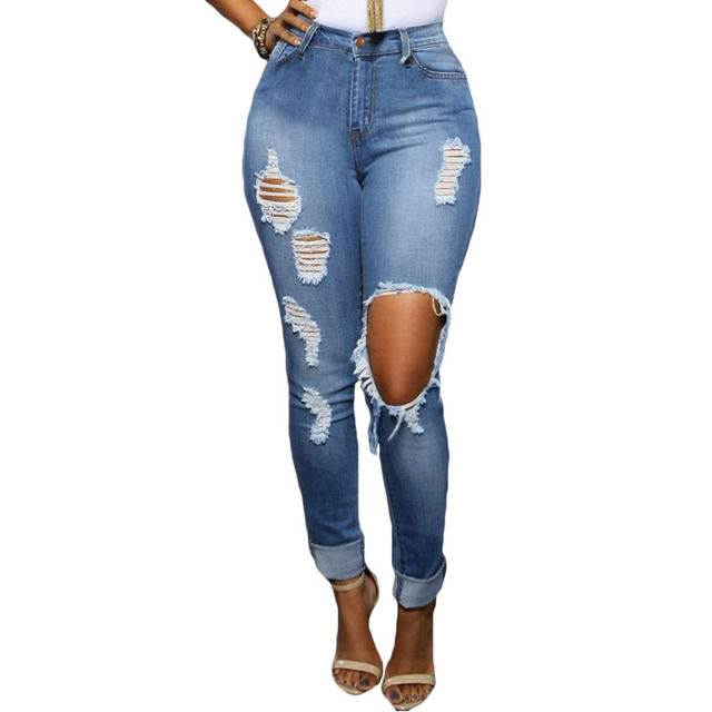 Aliexpress.com : Buy Womens Denim Glistening Ripped Skinny Jeans ...