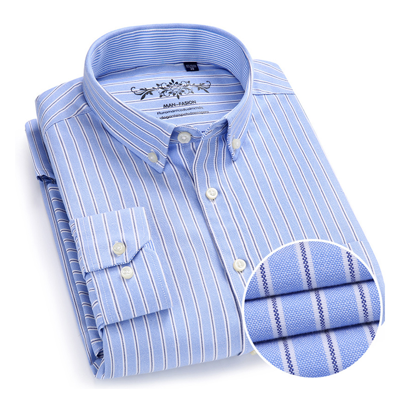 Herrenbekleidung & Zubehör Mode Streifen Oxford Männer Hemden Button-down-kragen Business Casual Männlichen Shirts Langarm Hochwertiger Herbst Männer Shirts Ein BrüLlender Handel