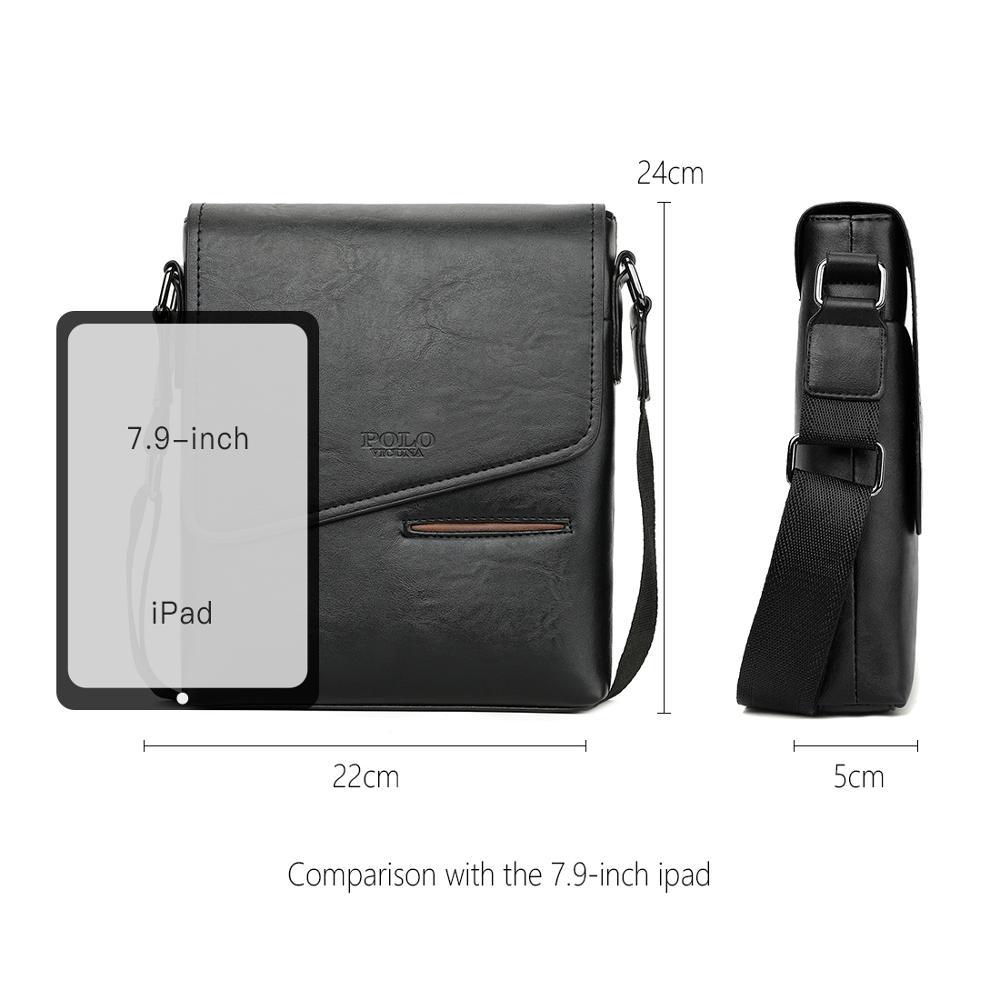 Image 5 - VICUNA POLO Vintage Frosted Leather Messenger Bag For Man Brand Business Man Bag Men's Shoulder Bags Front Pocket Men Handbag