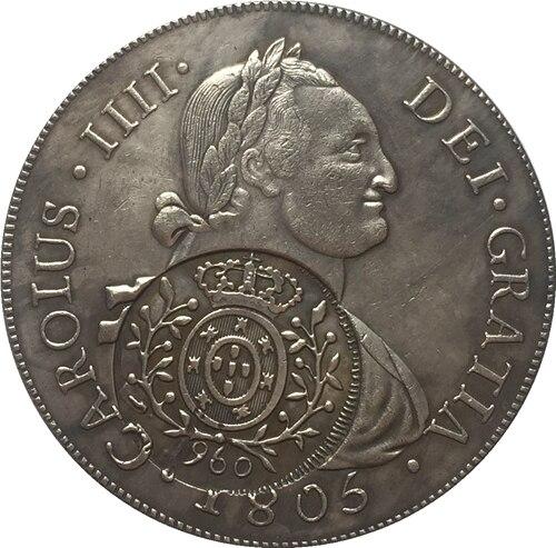 1808 Бразилия 960 Reis Монеты Скопируйте Бесплатная доставка 40 мм