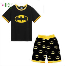 Fashion new summer style baby boys clothing sets cartoon bat man minions suit sets for boys shorts t-shirt sports clothes 2-7 Y