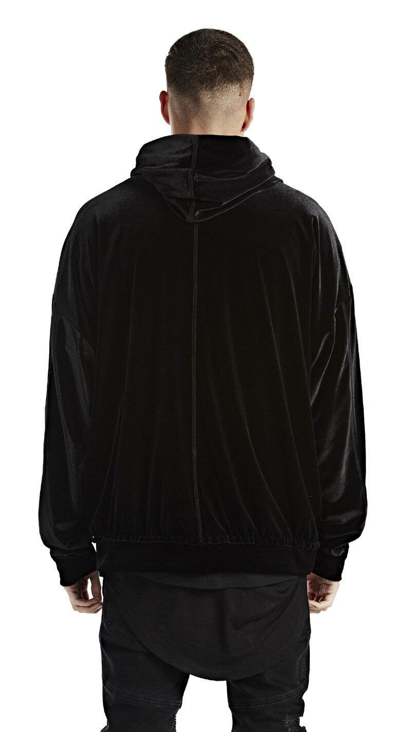US $23.32 35% OFF|2018 Streetwear męskie solidna aksamitna bluza z kapturem kanye west O neck opuszczane ramiona z długim rękawem welurowe bluzy hip