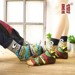 Оптовая продажа 120 шт. = 60 пар Мужская и женская Носки супер красиво Harajuku глаз Письмо бар Гамбург носки с принтом коттоновые носки calcetines