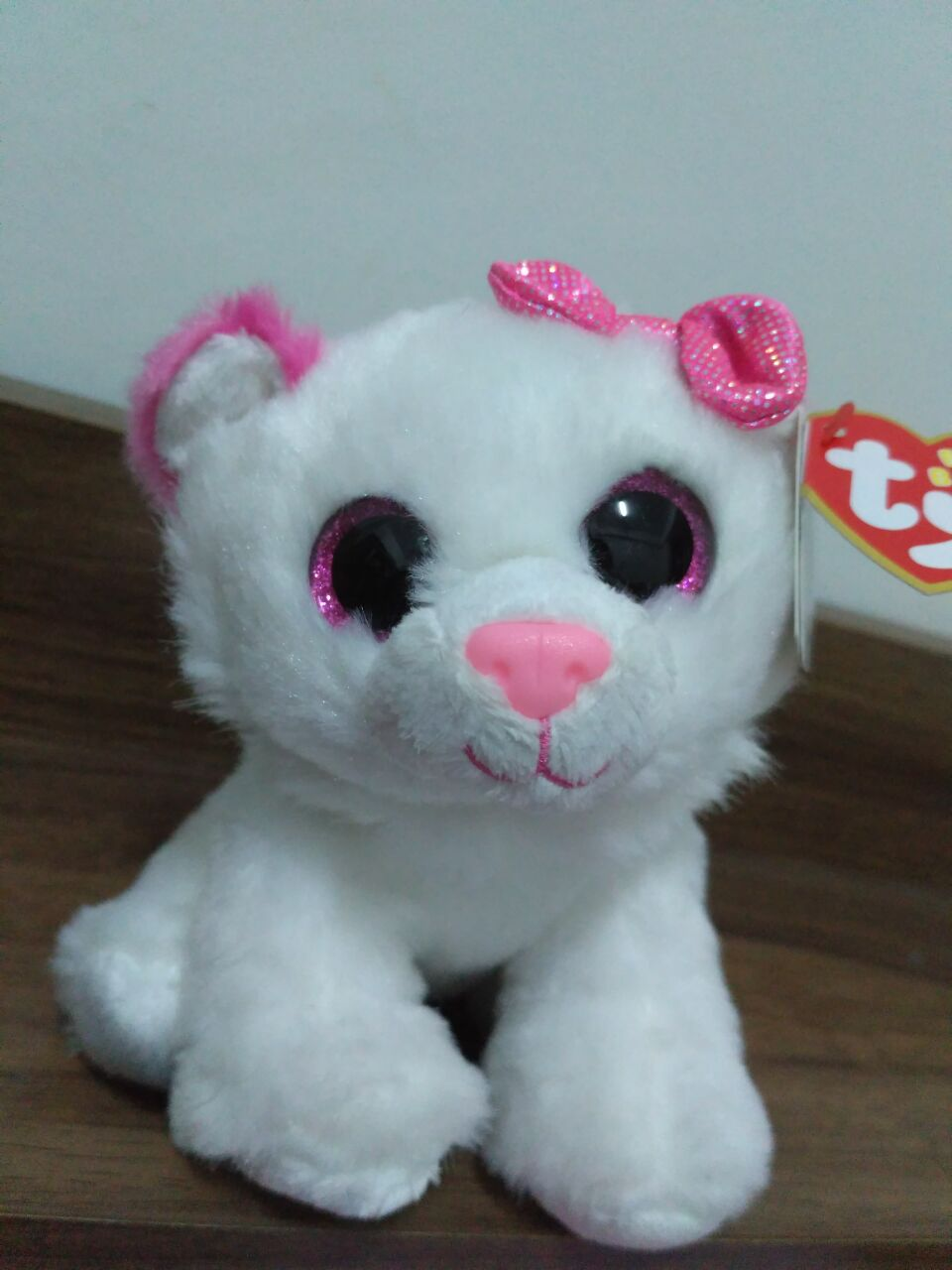 15cm Ty Beanie Boos Collection Big Eyes 6 Purrcilla White And Pink