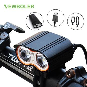 NEWBOLER Fahrrad Licht 5000 Lumen 2x XM T6 Radfahren Scheinwerfer Led Taschenlampen  Fahrrad Vorderes Lampen Batterie Usb Ladegerät Zubehör