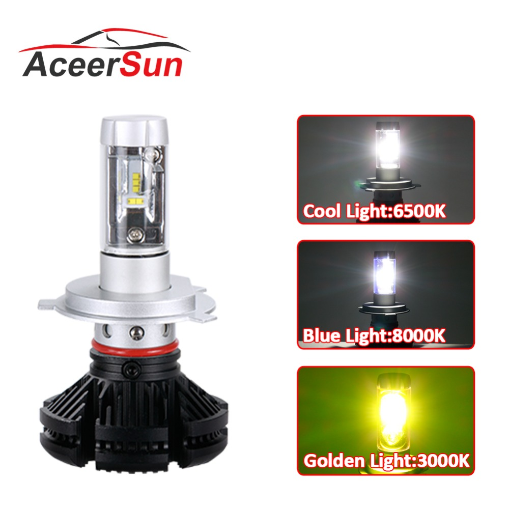 Aceersun X3 Series Fanless 50W H7 LED Car Headlight Bulbs White/Amber 6000lm H7 Auto Headlamp LED Car Bulb 12V 3000K/6500K/8000K