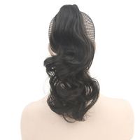 Soowee Wavy Synthetic Hair Claw Ponytail Wig Black Little Pony Tail Clip In Hair Extensions Hairpiece