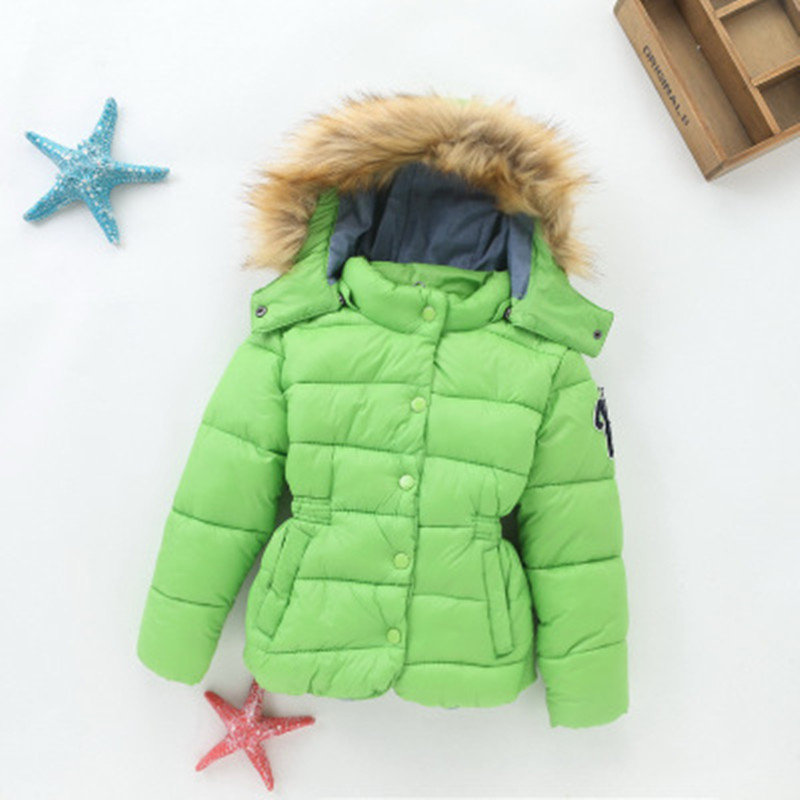 Winter Girls Coats Thickening Children Cotton Jackets With Big Fur Hooded 2-7 Years Old Kids Outwear Wholesale Green Orange 2017 casual 2016 winter jacket for boys warm jackets coats outerwears thick hooded down cotton jackets for children boy winter parkas