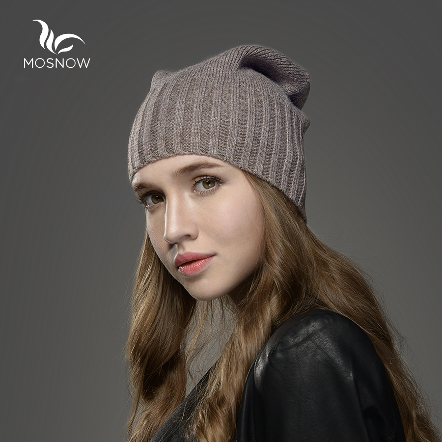 Mosnow Winter Hat  For Women New Wool Solid  Casual Brand Women's Vogue Knitted Warm  Gorros Mujer Invierno Skullies Beanies Cap