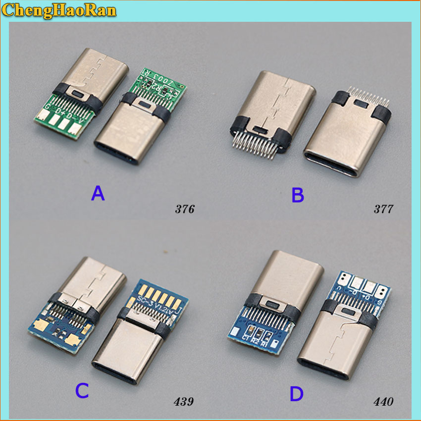 ChengHaoRan New 1PCS USB Power Connector Charge Dock Port Plug Type-C USB 3.1 Connecto Type C USB Male Jack