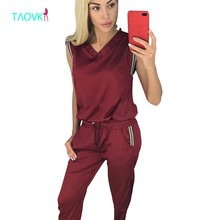 TAOVK Summer Women Costumes suit sleeveless top and pant two-piece set(China)