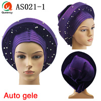 New Arrival!! African Traditional Already Made Auto Gele Aso Oke Headtie Multi Color For Wedding And Party Free Shipping AS021