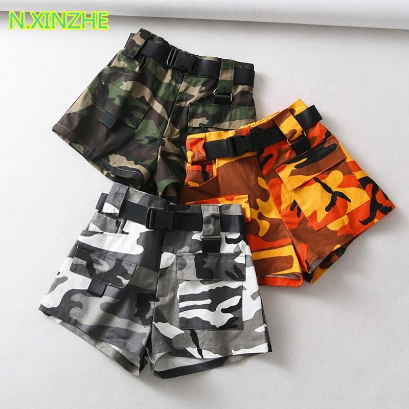 2018 women clothing high waist belt camouflage print relaxed   shorts   Female fashion casual loose cotton cargo   shorts   K1916
