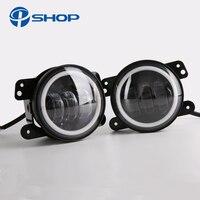 2PCS Pair 4 Inch Round 30w Led Fog Lamp Light Led Headlamp With Angel Eye Halo