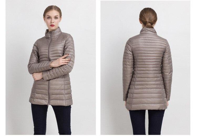 90% белый утиный пух пальто ультра светильник тонкий длинный пуховик портативное Женское зимнее пальто размера плюс Chaquetas Mujer