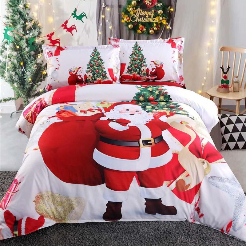 4pcs 3D Digital Printed Comforter Christmas Bedding Sets King Size Bed Set 12 Patterns Sheet Quilt Pillow Cover Soft Bed clothes