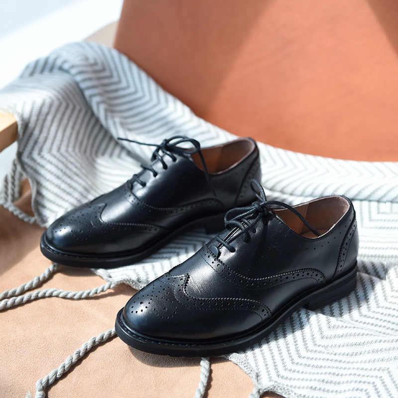 BeauToday Oxfords mujeres Calfskin cuero genuino punta de ala de encaje-Up cierre señoras Brogue zapatos planos hechos a mano A21069