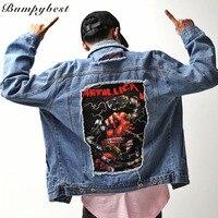 Denim Jackets 2017 Mens Destroyed Distressed Hole Metallica Jeans Jacket Coats Hip Hop Fashion Metal Streetwear