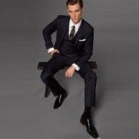 Для мужчин нагрудные Полосатый Жених костюм для свадьбы и Для мужчин черный смокинг Платья офисные профессиональный костюм 3 предмета в ком