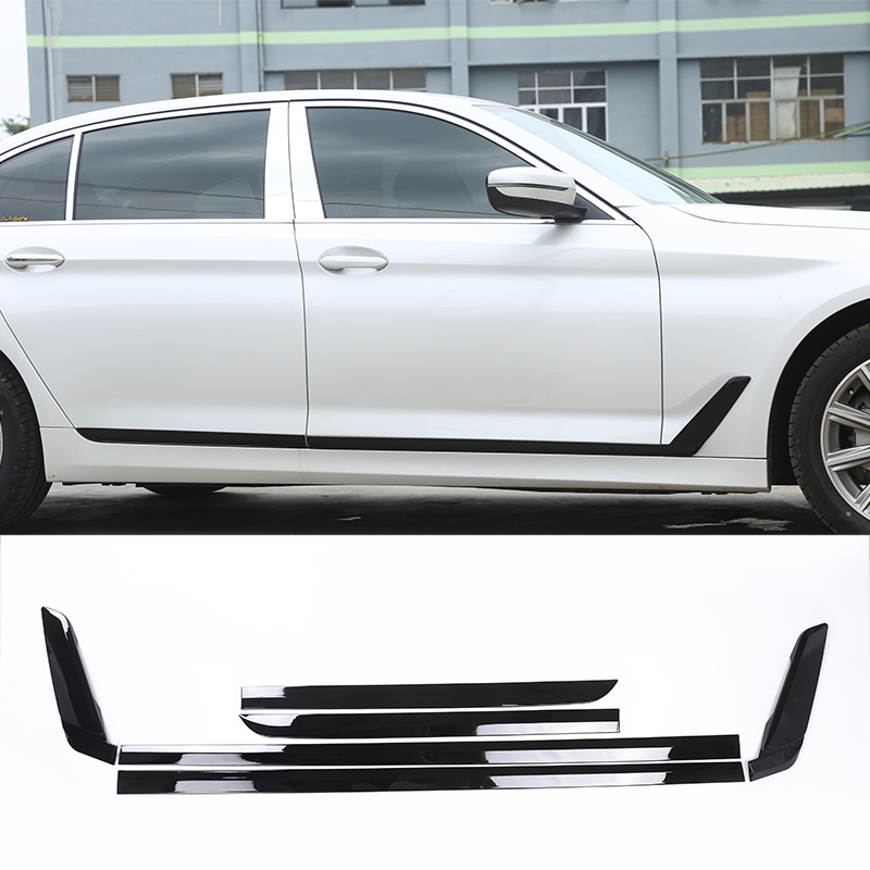 2018 For BMW New 5 Series G30 Car-styling ABS Plastic Car Door Side Strips Cover Trim Gloss Back Accessories 6pcs replacement car styling carbon fiber abs rear side door mirror cover for bmw 5 series f10 gt f07 lci 2014 523i 528i 535i