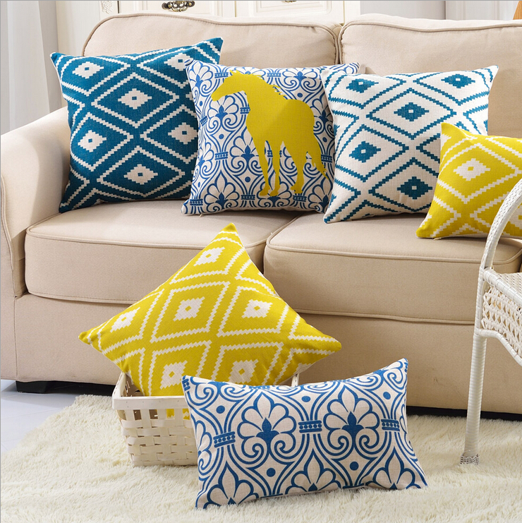 yellow and blue color geometric cushion cover floral horse almofada decorative sofa throw pillow ...