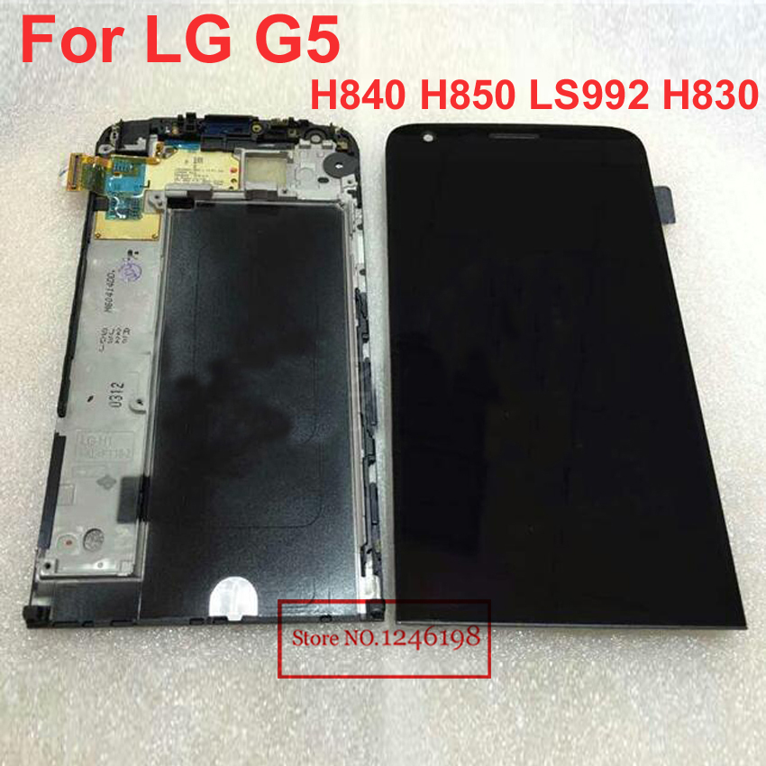 5.3 Black Color High Quality New LCD Display Touch Screen Digitizer Assembly with Frame For LG G5 H850 Phone Replacement Parts