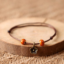 Brown Rope Retro Flower Orange Beads Bracelet Women Handmade Elegant Bracelets & Bangles Girls Creative Simple Bangle Jewelry(China)