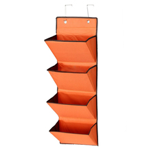 Best 4 Tier Wall Door Hanging Organiser Storage Rack Bag Cloth Wardobe Shoe Pocket Orange