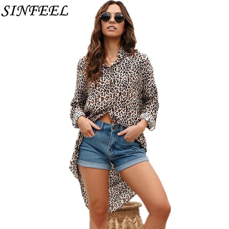 2019 Top Women Summer Blouses Women's Shirts Brands Lepoard Print Blusas Feminina Long Chiffon Elegant Casual Loosetops Femme