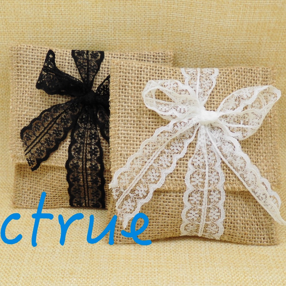 12pc Jute Wedding Gift Bags Vintage Rustic Burlap Lace Favor Party Pouches Baby Shower In Wring Supplies From Home
