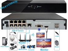 Free Shipping for 8CH 4CH NVR with 1SATA and 8 POE and 4 POE ports, HDMI and VGA output Embedded Plug & Play NVR POE