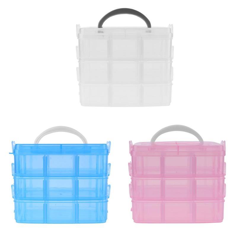 Makeup Tool Kits Portable Detachable Three-Layers Plaid Plastic Accesso