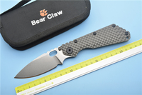 Bear Claw SMF Folding Knife D2 Blade Carbon Fiber Titanium Handle Copper Outdoor Tools Fruit Knife