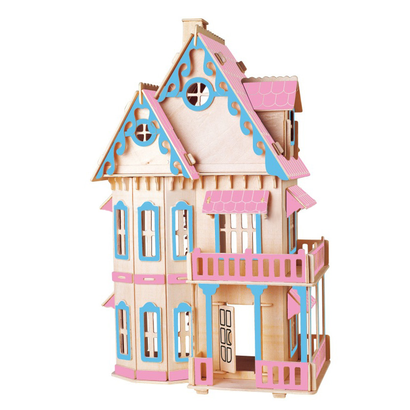 Educational 3D Wooden House Toys DIY Kits Gothic Villa House,Construction Toy Models Painted Color Puzzle For Kids Birthday Gift puzzled gothic house wooden 3d puzzle construction kit