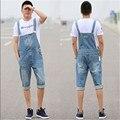 2016 Nova Mens Verão Macacão Azul Moda Baggy Plus Size XS-5XL Macacão Shorts Jeans de Cintura Alta Bolsos Multi Para homens