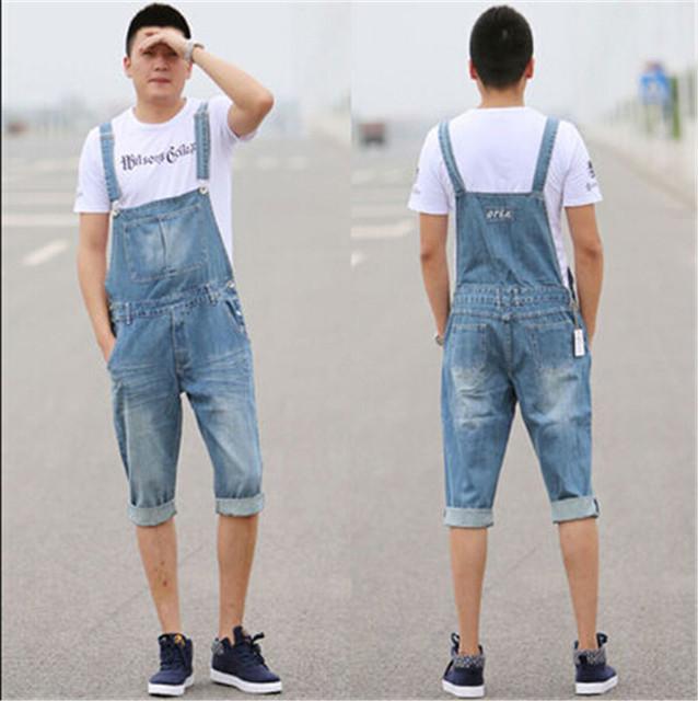 2016 Nuevos Mens Del Verano Trajes de Moda Holgados Azul Más El Tamaño XS-5XL Alta Cintura de Múltiples Bolsillos Overol de Mezclilla Pantalones Cortos Para hombres