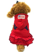 2015 New Dog Clothes Wholesale Hoodies Dress 3colors Usa Fleece Small Pet Coat Free Shipping