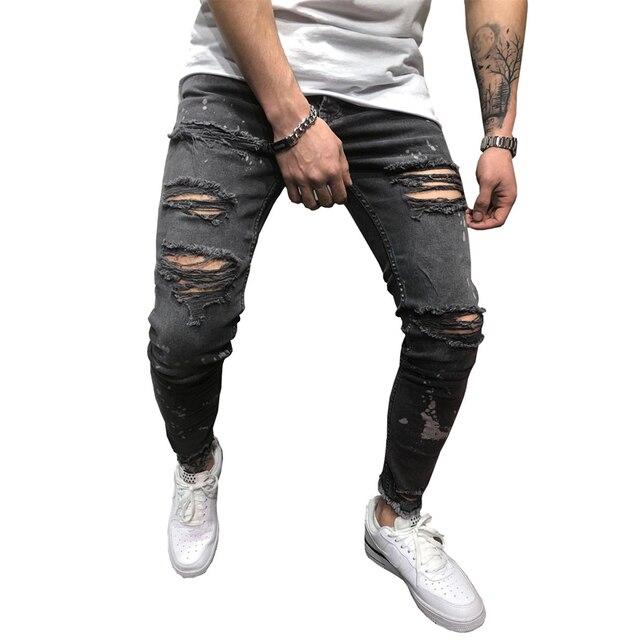 Hitam Robek Tertekan Jeans Pria High Street Slim Fit Mens Hipster Skinny Jeans Hip Hop Sepeda Motor Biker Denim Lembut Jeans Homme Jeans Aliexpress