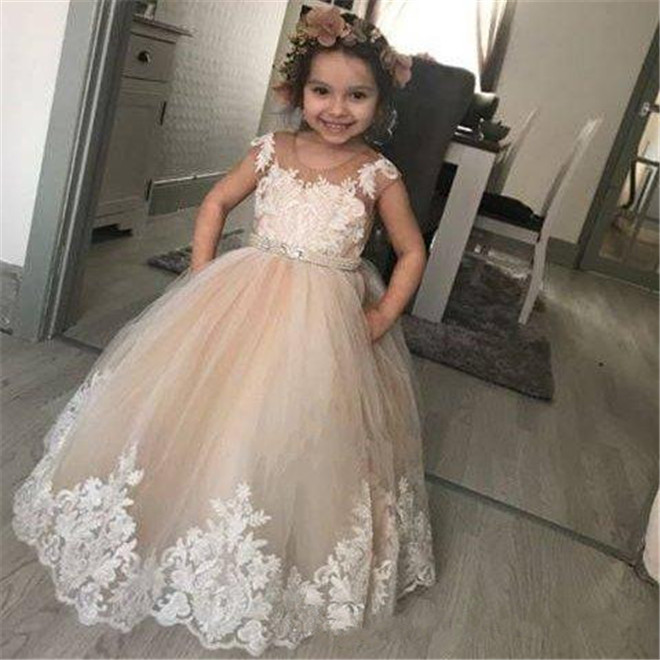 62e4137ec33 Champagne Ball Gown Lace Flower Girl Dresses For Wedding Sheer Jewel Neck  Kids Pageant Gowns Puffy Tulle Birthday Dress with Bow