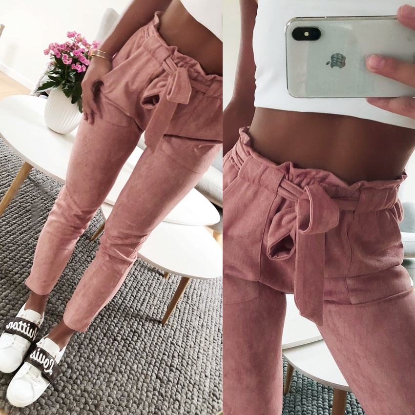 New 2018 Fashion women mid waist shirley pants suede 5 colors Casual female trousers autumn winter Leather Bottoms Female Trouse
