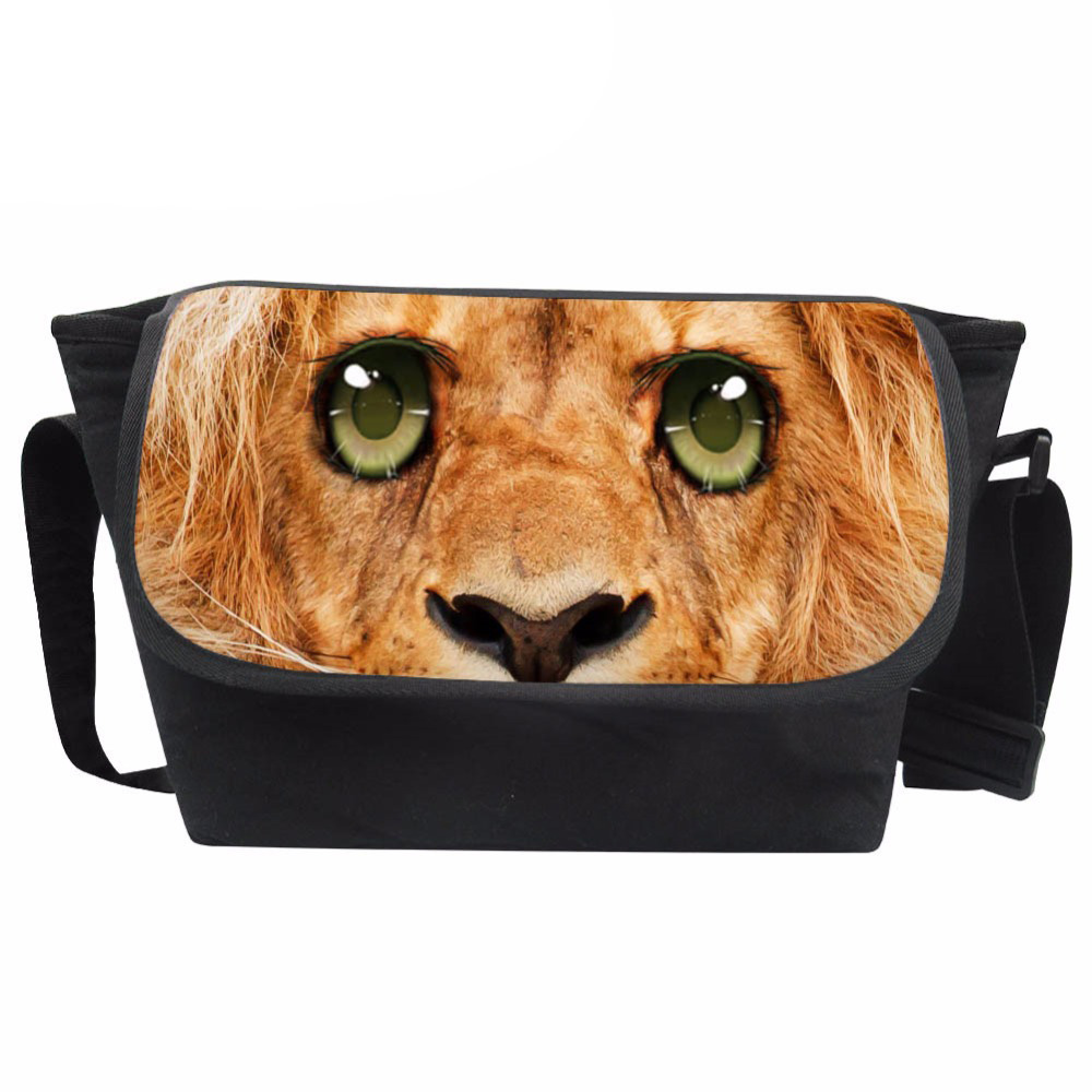 Customized Mens Messenger Bag Teenagers 3D Animals Face Prints Crossbody Bags Males Lion Pattern Shoulder Bag Cool Bolsa