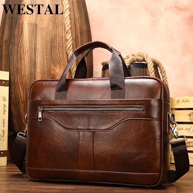 WESTAL Men s Briefcase Men s Bag Genuine Leather Laptop Bag Leather Computer Office Bags for Innrech Market.com
