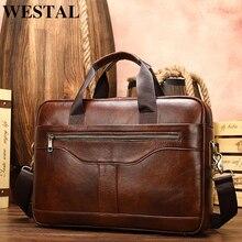 WESTAL ผู้ชายกระเป๋าเอกสารผู้ชายกระเป๋าหนังแท้กระเป๋าแล็ปท็อปหนังคอมพิวเตอร์/สำนักงานชายเอกสาร Briefcases totes กระเป๋า