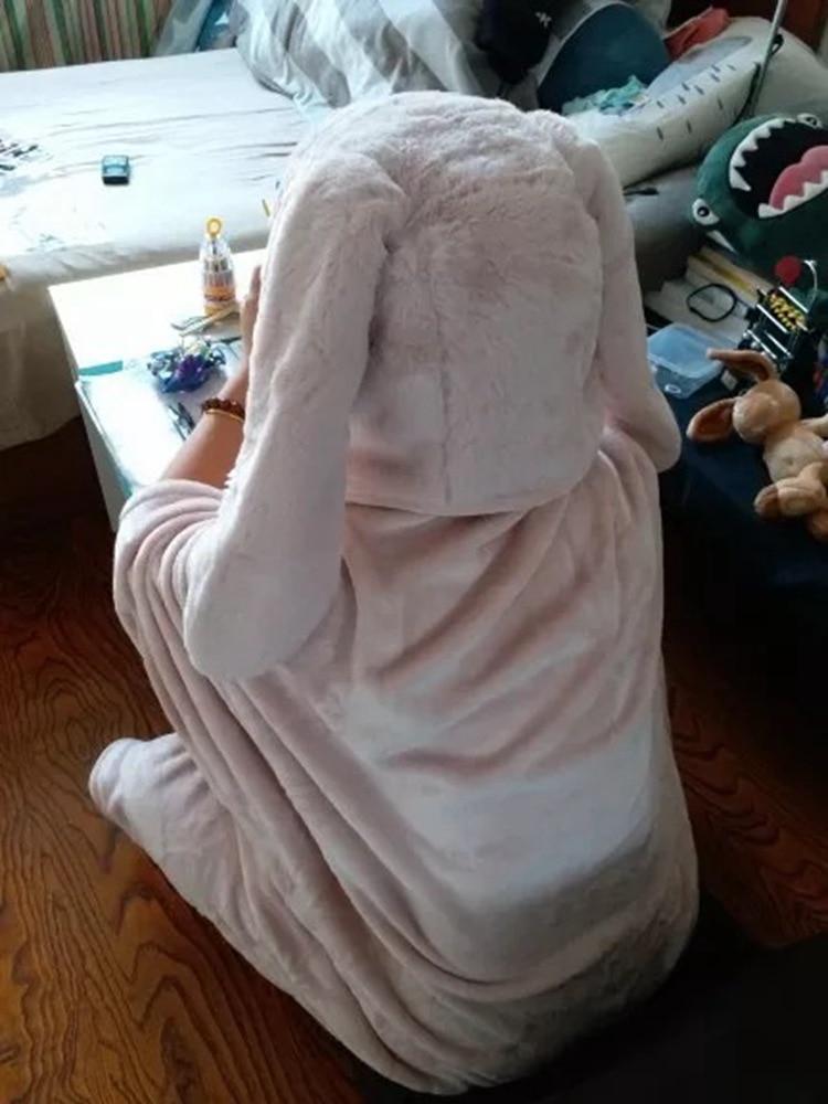 Cute Pink Comfy Blanket Sweatshirt Winter Warm Adults and Children Rabbit Ear Hooded Fleece Blanket Sleepwear Huge Bed Blankets 112